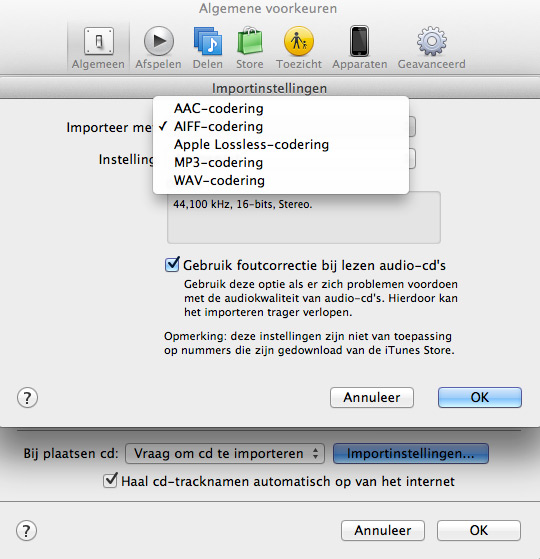 iTunes optimaal instellen - diverse instellingen in de algemene voorkeuren