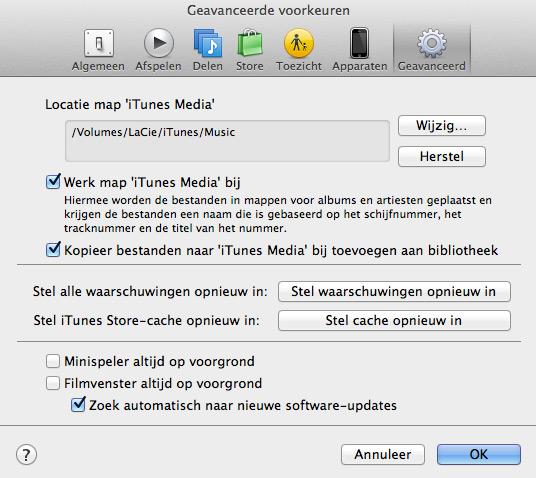 iTunes optimaal instellen - iTunes locatie externe schijf