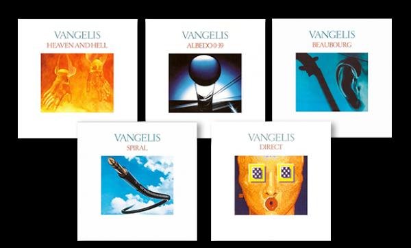 Vangelis albums: Heaven and Hell - Albedo 0.39 - Beaubourg - Spiral - Direct