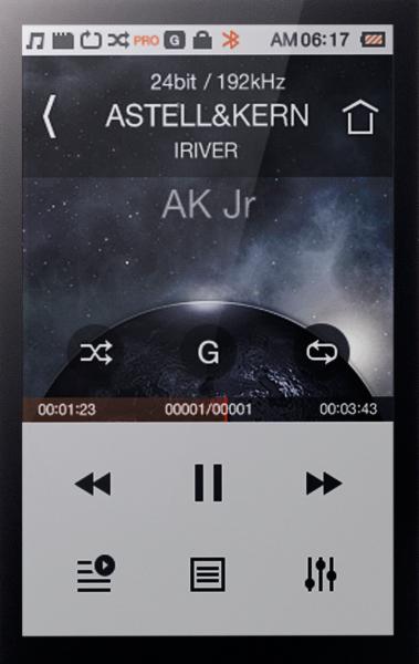 Astell&Kern AK Jr (Junior) menu screen