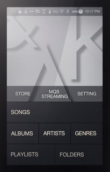 Astell&Kern AK100.2 menu screen