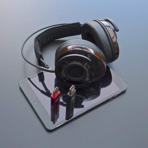 AudioQuest DragonFly Black en Red met AudioQuest NightHawk en iPad mini