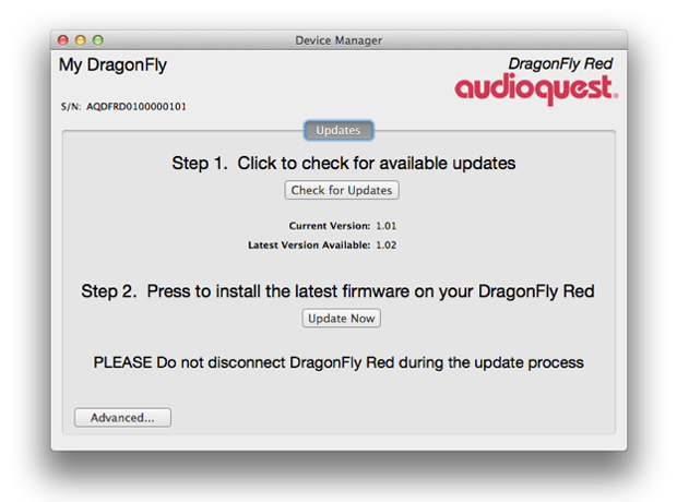 audioquest dragonfly red device manager