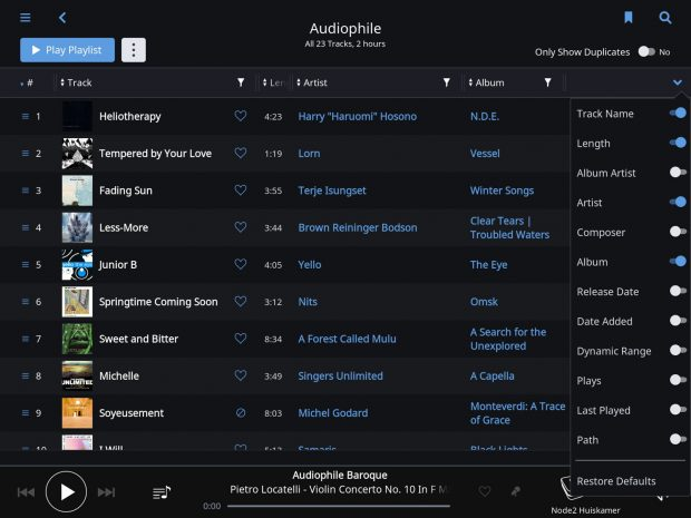 roon 1.3 - playlist view