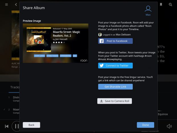roon 1.3 - social sharing